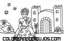 Castillo y princesa para colorear