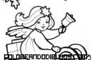 Dibujo de angel niña en trineo para colorear