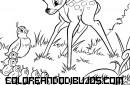 Bambi y familia de pájaros para colorear