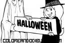 Bruja y fantasma en Halloween