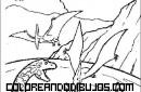 Escena de dinosaurios peleándose