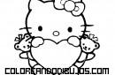 Hello Kitty con un gran corazón para colorear