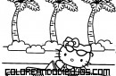 Hello Kitty en su descapotable
