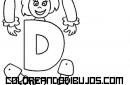 Letra D articulada para recortar y colorear
