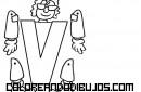 Letra V articulada para recortar y colorear