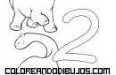 Número 2 y 2 Dinosaurios para colorear
