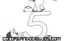 Número 5 y 5 perritos para colorear
