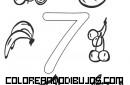 Número 7 y 7 Frutitas para colorear